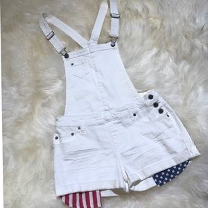 Denim - White overalls with Fourth of July pocket shorts